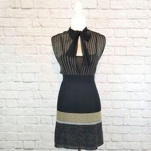 M Missoni black gold silver sleeveless sheer dress
